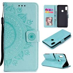 Intricate Embossing Datura Leather Wallet Case for Xiaomi Redmi Note 5 Pro - Mint Green