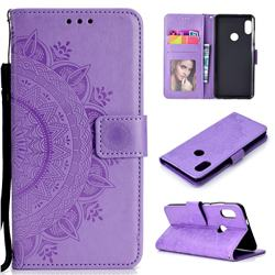 Intricate Embossing Datura Leather Wallet Case for Xiaomi Redmi Note 5 Pro - Purple