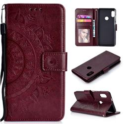 Intricate Embossing Datura Leather Wallet Case for Xiaomi Redmi Note 5 Pro - Brown