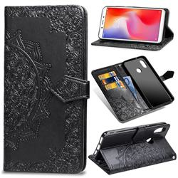 Embossing Imprint Mandala Flower Leather Wallet Case for Xiaomi Redmi Note 5 Pro - Black