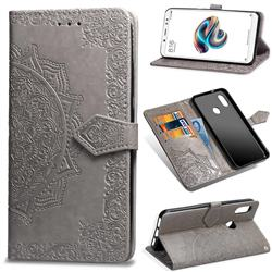 Embossing Imprint Mandala Flower Leather Wallet Case for Xiaomi Redmi Note 5 Pro - Gray