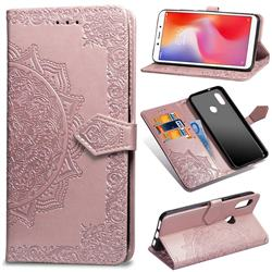 Embossing Imprint Mandala Flower Leather Wallet Case for Xiaomi Redmi Note 5 Pro - Rose Gold