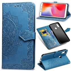 Embossing Imprint Mandala Flower Leather Wallet Case for Xiaomi Redmi Note 5 Pro - Blue