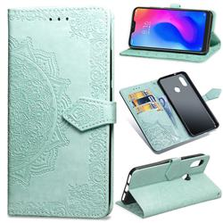 Embossing Imprint Mandala Flower Leather Wallet Case for Xiaomi Redmi Note 5 Pro - Green