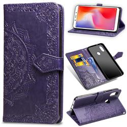 Embossing Imprint Mandala Flower Leather Wallet Case for Xiaomi Redmi Note 5 Pro - Purple