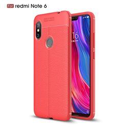 Luxury Auto Focus Litchi Texture Silicone TPU Back Cover for Mi Xiaomi Redmi Note 6 - Red