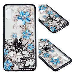 Lilac Lace Diamond Flower Soft TPU Back Cover for Mi Xiaomi Redmi Note 6