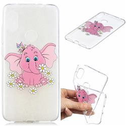 Tiny Pink Elephant Clear Varnish Soft Phone Back Cover for Mi Xiaomi Redmi Note 6