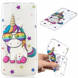 Glasses Unicorn Clear Varnish Soft Phone Back Cover for Mi Xiaomi Redmi Note 6