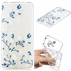 Magnolia Flower Clear Varnish Soft Phone Back Cover for Mi Xiaomi Redmi Note 6