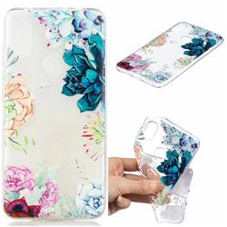 Gem Flower Clear Varnish Soft Phone Back Cover for Mi Xiaomi Redmi Note 6