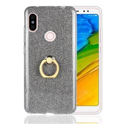 Luxury Soft TPU Glitter Back Ring Cover with 360 Rotate Finger Holder Buckle for Mi Xiaomi Redmi Note 6 - Black