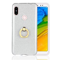 Luxury Soft TPU Glitter Back Ring Cover with 360 Rotate Finger Holder Buckle for Mi Xiaomi Redmi Note 6 - White