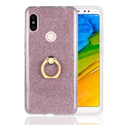 Luxury Soft TPU Glitter Back Ring Cover with 360 Rotate Finger Holder Buckle for Mi Xiaomi Redmi Note 6 - Pink