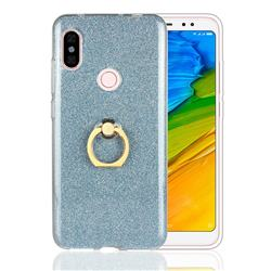 Luxury Soft TPU Glitter Back Ring Cover with 360 Rotate Finger Holder Buckle for Mi Xiaomi Redmi Note 6 - Blue