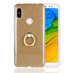 Luxury Soft TPU Glitter Back Ring Cover with 360 Rotate Finger Holder Buckle for Mi Xiaomi Redmi Note 6 - Golden
