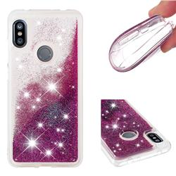 Dynamic Liquid Glitter Quicksand Sequins TPU Phone Case for Mi Xiaomi Redmi Note 6 - Purple