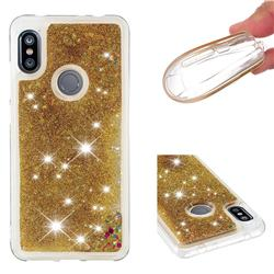 Dynamic Liquid Glitter Quicksand Sequins TPU Phone Case for Mi Xiaomi Redmi Note 6 - Golden