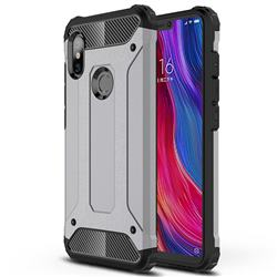King Kong Armor Premium Shockproof Dual Layer Rugged Hard Cover for Mi Xiaomi Redmi Note 6 - Silver Grey