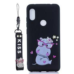 Black Flower Hippo Soft Kiss Candy Hand Strap Silicone Case for Mi Xiaomi Redmi Note 6