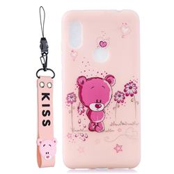 Pink Flower Bear Soft Kiss Candy Hand Strap Silicone Case for Mi Xiaomi Redmi Note 6