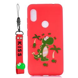 Red Dinosaur Soft Kiss Candy Hand Strap Silicone Case for Mi Xiaomi Redmi Note 6