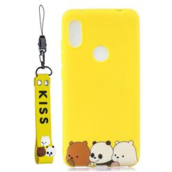 Yellow Bear Family Soft Kiss Candy Hand Strap Silicone Case for Mi Xiaomi Redmi Note 6