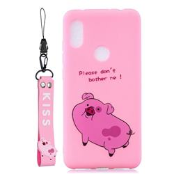 Pink Cute Pig Soft Kiss Candy Hand Strap Silicone Case for Mi Xiaomi Redmi Note 6