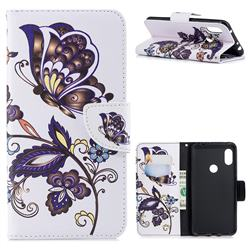 Butterflies and Flowers Leather Wallet Case for Mi Xiaomi Redmi Note 6