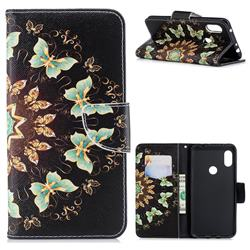 Circle Butterflies Leather Wallet Case for Mi Xiaomi Redmi Note 6