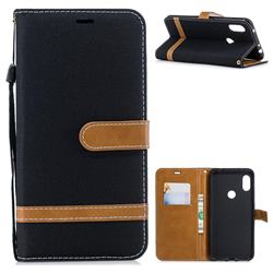 Jeans Cowboy Denim Leather Wallet Case for Mi Xiaomi Redmi Note 6 - Black
