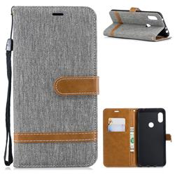 Jeans Cowboy Denim Leather Wallet Case for Mi Xiaomi Redmi Note 6 - Gray