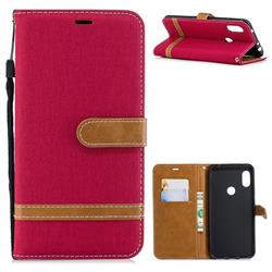 Jeans Cowboy Denim Leather Wallet Case for Mi Xiaomi Redmi Note 6 - Red
