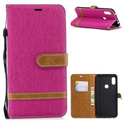 Jeans Cowboy Denim Leather Wallet Case for Mi Xiaomi Redmi Note 6 - Rose