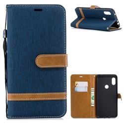 Jeans Cowboy Denim Leather Wallet Case for Mi Xiaomi Redmi Note 6 - Dark Blue
