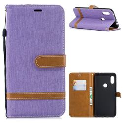 Jeans Cowboy Denim Leather Wallet Case for Mi Xiaomi Redmi Note 6 - Purple