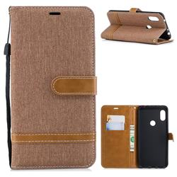 Jeans Cowboy Denim Leather Wallet Case for Mi Xiaomi Redmi Note 6 - Brown