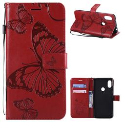 Embossing 3D Butterfly Leather Wallet Case for Mi Xiaomi Redmi Note 6 - Red