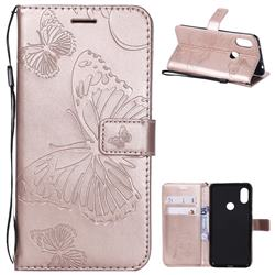 Embossing 3D Butterfly Leather Wallet Case for Mi Xiaomi Redmi Note 6 - Rose Gold