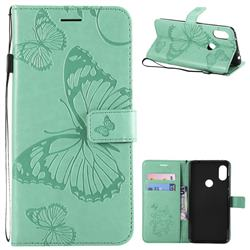 Embossing 3D Butterfly Leather Wallet Case for Mi Xiaomi Redmi Note 6 - Green