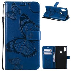 Embossing 3D Butterfly Leather Wallet Case for Mi Xiaomi Redmi Note 6 - Blue