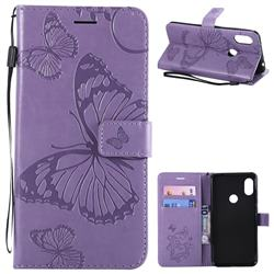 Embossing 3D Butterfly Leather Wallet Case for Mi Xiaomi Redmi Note 6 - Purple