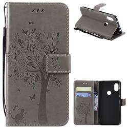 Embossing Butterfly Tree Leather Wallet Case for Mi Xiaomi Redmi Note 6 - Grey
