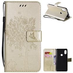 Embossing Butterfly Tree Leather Wallet Case for Mi Xiaomi Redmi Note 6 - Champagne