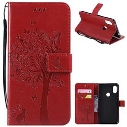 Embossing Butterfly Tree Leather Wallet Case for Mi Xiaomi Redmi Note 6 - Red