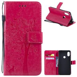 Embossing Butterfly Tree Leather Wallet Case for Mi Xiaomi Redmi Note 6 - Rose
