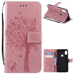 Embossing Butterfly Tree Leather Wallet Case for Mi Xiaomi Redmi Note 6 - Pink