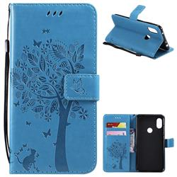 Embossing Butterfly Tree Leather Wallet Case for Mi Xiaomi Redmi Note 6 - Blue