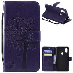 Embossing Butterfly Tree Leather Wallet Case for Mi Xiaomi Redmi Note 6 - Purple