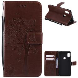 Embossing Butterfly Tree Leather Wallet Case for Mi Xiaomi Redmi Note 6 - Coffee